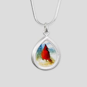 watercolor winter red ca Silver Teardrop Necklace