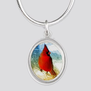 watercolor winter red cardina Silver Oval Necklace