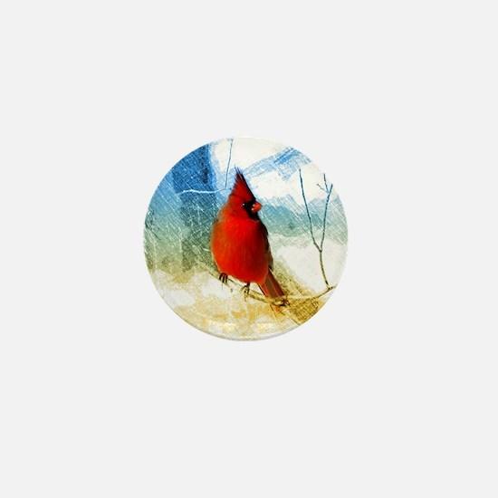 watercolor winter red cardinal Mini Button
