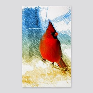 watercolor winter red cardinal Area Rug