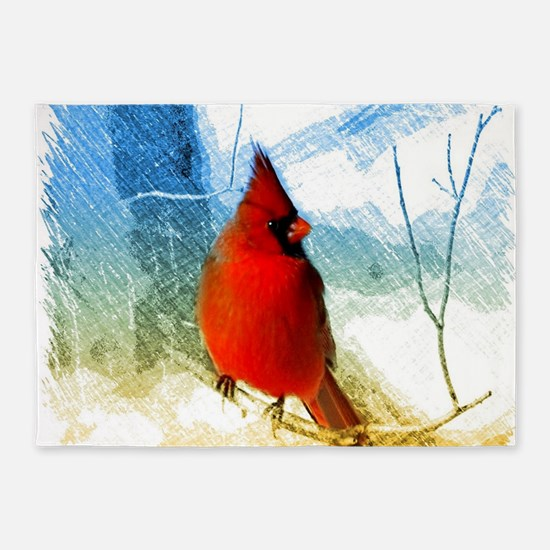 watercolor winter red cardinal 5'x7'Area Rug