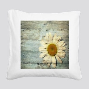 shabby chic country daisy Square Canvas Pillow