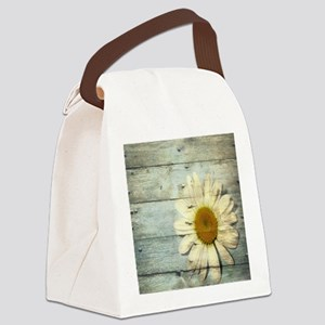 shabby chic country daisy Canvas Lunch Bag
