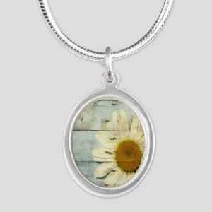shabby chic country daisy Silver Oval Necklace
