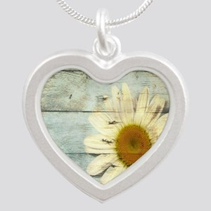 shabby chic country daisy Silver Heart Necklace