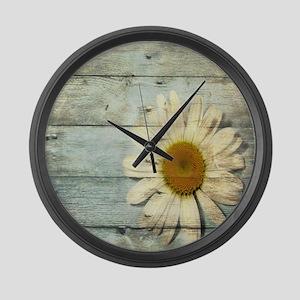 shabby chic country daisy Large Wall Clock