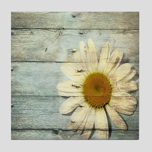 shabby chic country daisy Tile Coaster