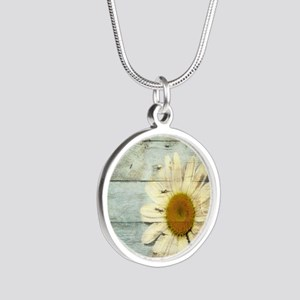 shabby chic country daisy Silver Round Necklace