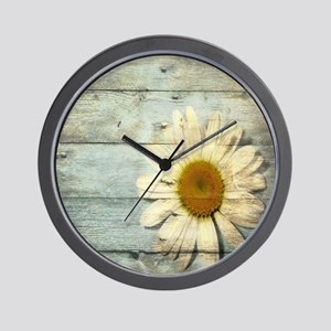 shabby chic country daisy Wall Clock