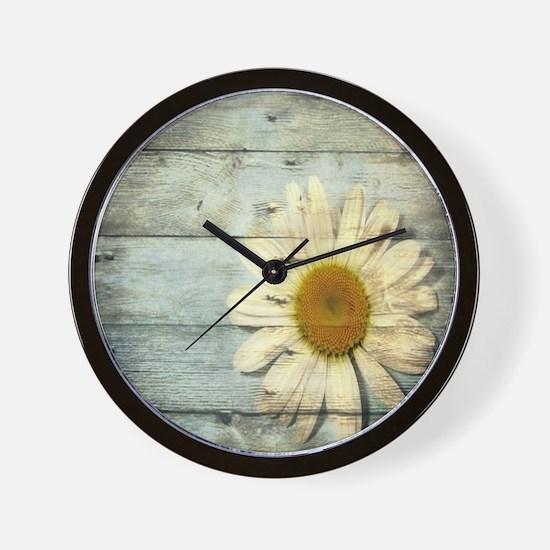 shabby chic country daisy Wall Clock