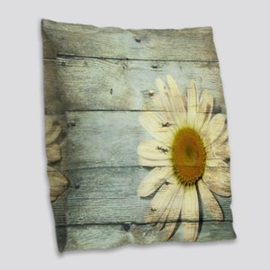 shabby chic country daisy Burlap Throw Pillow