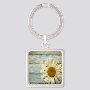 shabby chic country daisy Square Keychain