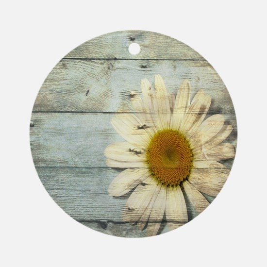 shabby chic country daisy Round Ornament