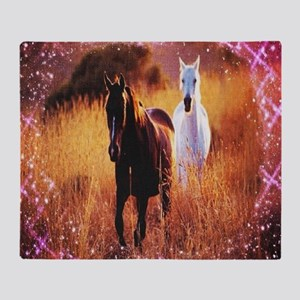 pink stars country horses Throw Blanket
