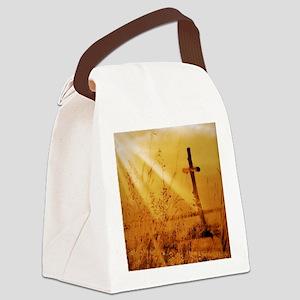 inspirational sunrays golden cros Canvas Lunch Bag