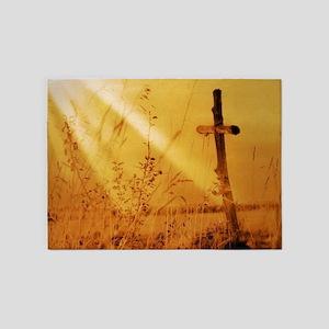 inspirational sunrays golden cross 5'x7'Area Rug