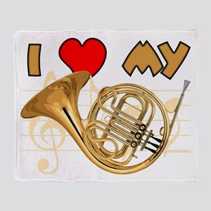 I Love My French Horn Throw Blanket