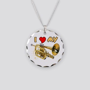 I Love My Cornet Necklace Circle Charm