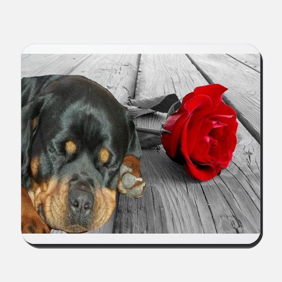 Rottweiler and Rose Mousepad