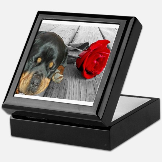 Rottweiler and Rose Keepsake Box