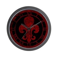 Cracked Red Fleur De Lis Wall Clock