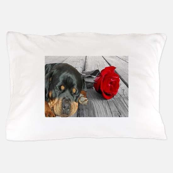 Rottweiler and Rose Pillow Case