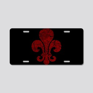 Cracked Red Fleur De Lis Aluminum License Plate