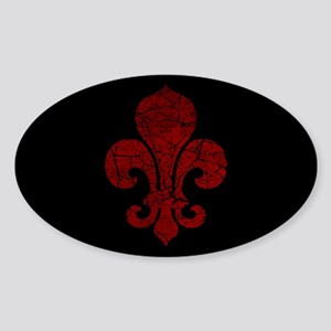 Cracked Red Fleur De Lis Sticker