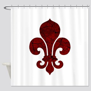 Cracked Red Fleur De Lis Shower Curtain