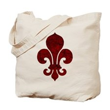 Cracked Red Fleur De Lis Tote Bag