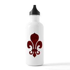 Cracked Red Fleur De Lis Water Bottle