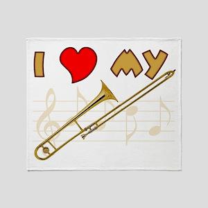I Love My Trombone Throw Blanket