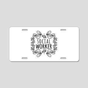 Hand-Drawn Wreath Social Wo Aluminum License Plate