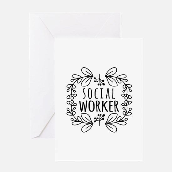 Hand-Drawn Wreath Social Worker Greeting Card
