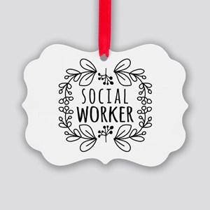 Hand-Drawn Wreath Social Worker Picture Ornament