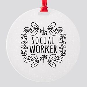 Hand-Drawn Wreath Social Worker Round Ornament