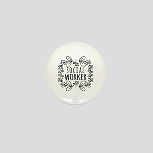 Hand-Drawn Wreath Social Worker Mini Button