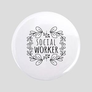 Hand-Drawn Wreath Social Worker Button