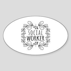 Hand-Drawn Wreath Social Worker Sticker (Oval)