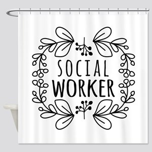 Hand-Drawn Wreath Social Worker Shower Curtain