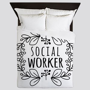 Hand-Drawn Wreath Social Worker Queen Duvet