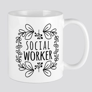 Hand-Drawn Wreath Social Worker Mug
