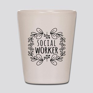 Hand-Drawn Wreath Social Worker Shot Glass
