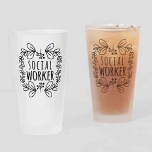 Hand-Drawn Wreath Social Worker Drinking Glass