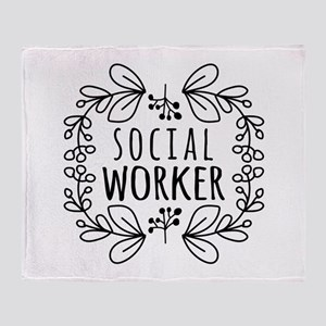 Hand-Drawn Wreath Social Worker Throw Blanket