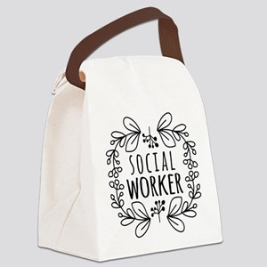 Hand-Drawn Wreath Social Worker Canvas Lunch Bag