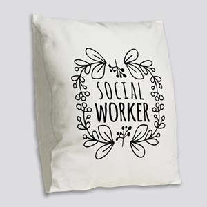 Hand-Drawn Wreath Social Worke Burlap Throw Pillow