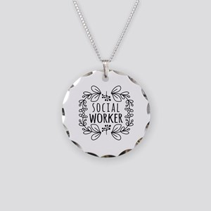 Hand-Drawn Wreath Social Wor Necklace Circle Charm