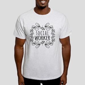 Hand-Drawn Wreath Social Worker Light T-Shirt