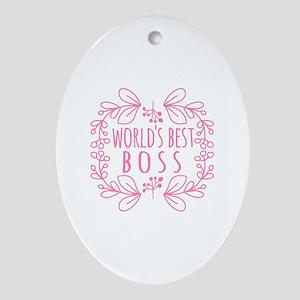 Cute Pink World's Best Boss Ornament (Oval)